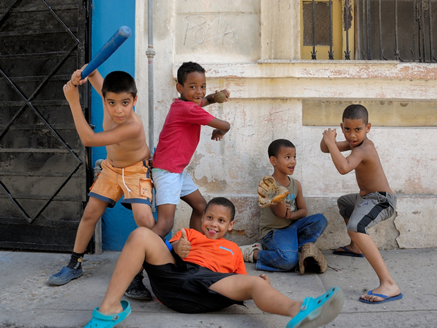 photo of Cuban kids playing baseball